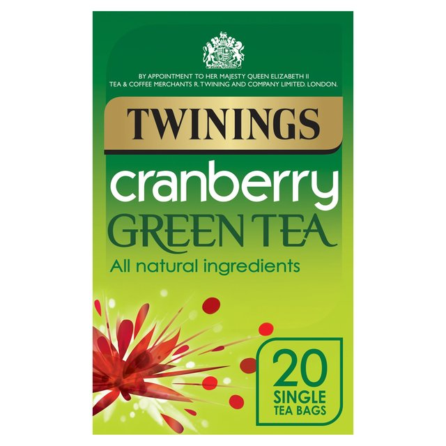 Twinings Cranberry Green Tea 20 Single Tea Bags 40g