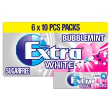 Extra White Bubblemint Chewing Gum Sugar Free Multipack 6 x 10 Pieces