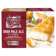 Donegal Catch 2 Irish Pale Ale Battered Atlantic Haddock Fillets 270g