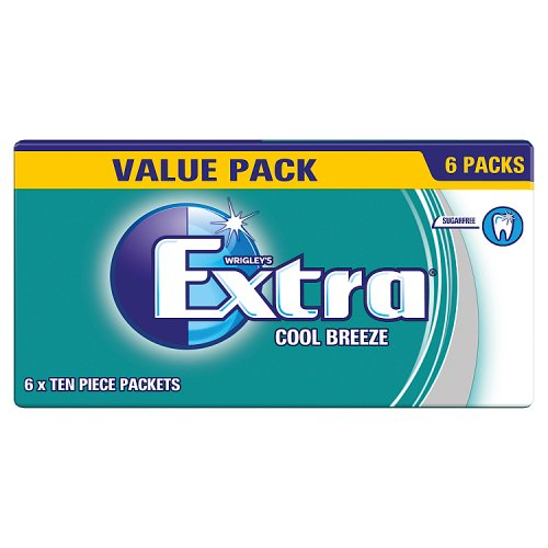 Extra Cool Breeze Chewing Gum Sugar Free 6 x 10 Pieces