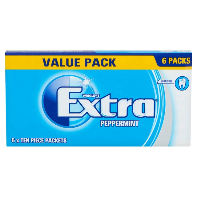 Extra Peppermint Chewing Gum Sugar Free Multipack 6 x 10 Pieces