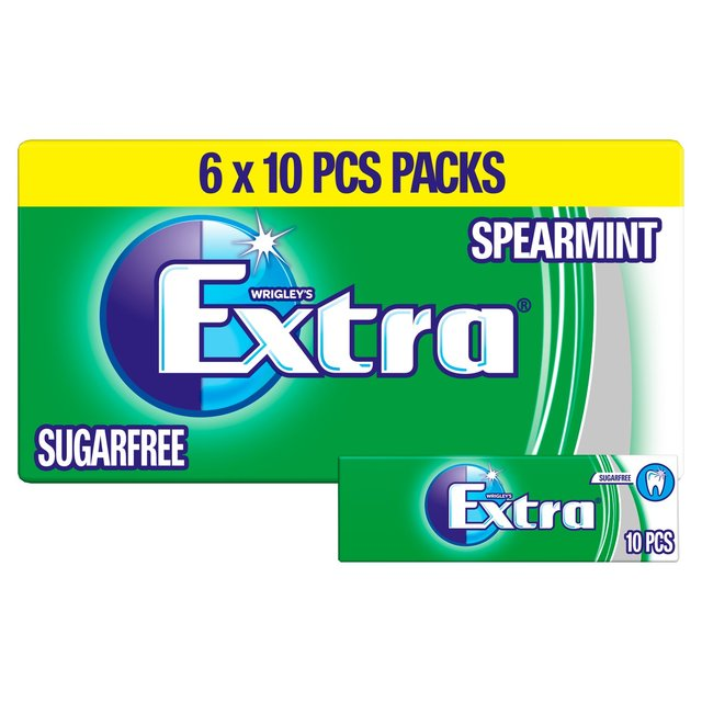 Extra Spearmint Chewing Gum Sugar Free Multipack 6 x 10 Pieces
