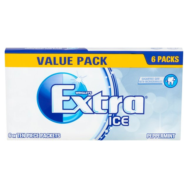 Extra Ice Peppermint Chewing Gum Sugar Free Multipack 6 x 10 Pieces