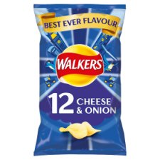 Walkers Cheese & Onion Crisps 12 X 25G
