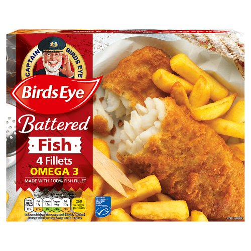 Birds Eye 4 Omega 3 Battered Fish Fillets 400g