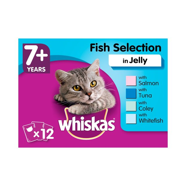 Whiskas Senior 7+ Wet Cat Food Pouches Fish in Jelly 12 x 100g