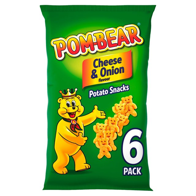 Pom-Bear Cheese & Onion Flavour Potato Snacks 6 x 13g