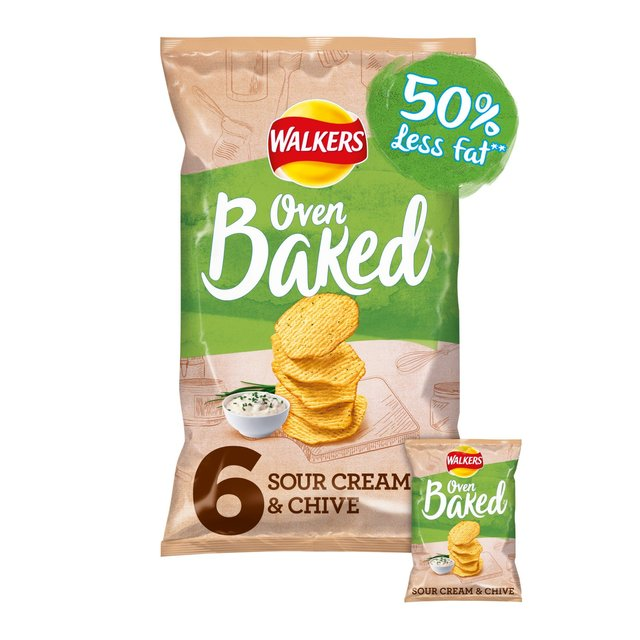 Walkers Baked Sour Cream & Chive Snacks 6x25g