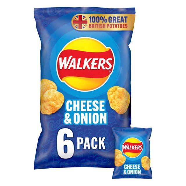 Walkers Cheese & Onion Crisps 6x25g