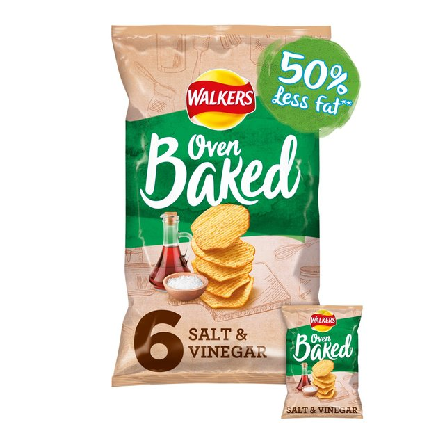 Walkers Baked Salt & Vinegar Potato Snacks 6x25g