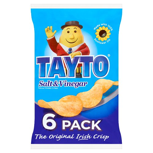 Tayto Salt & Vinegar Flavour Potato Crisps 6 x 25g