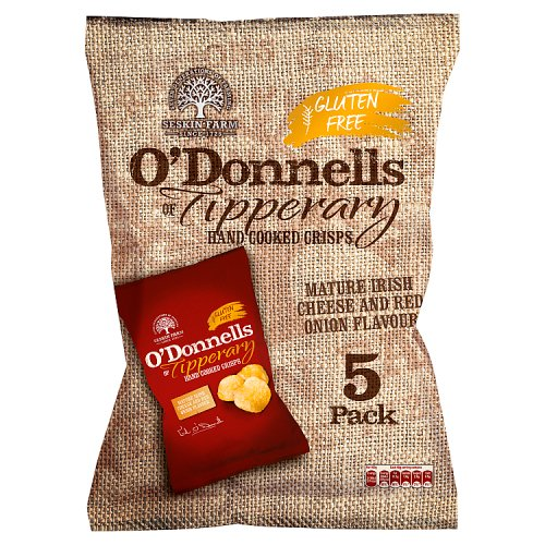 O'Donnells of Tipperary Hand Cooked Crisps Mature Irish Cheese and Red Onion Flavour 5 x 40g
