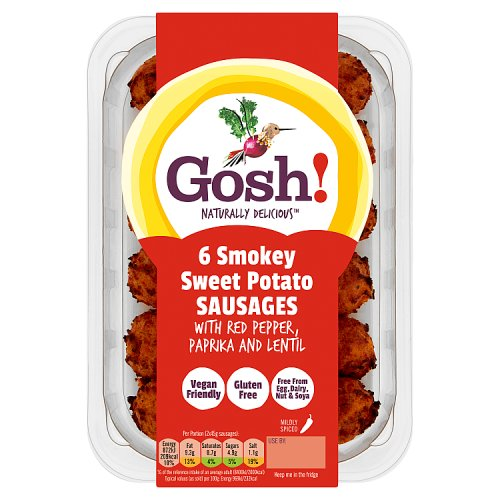 Gosh! Naturally Delicious 6 Smokey Sweet Potato Sausages with Red Pepper, Paprika and Lentil 270g