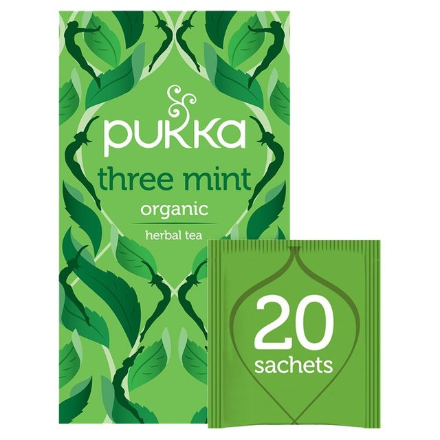 Pukka Organic Three Mint 20 Herbal Tea Sachets 32g