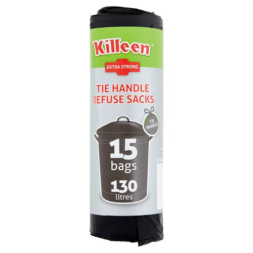 Killeen Tie Handle Refuse Sacks 15 Bags 130 Litres