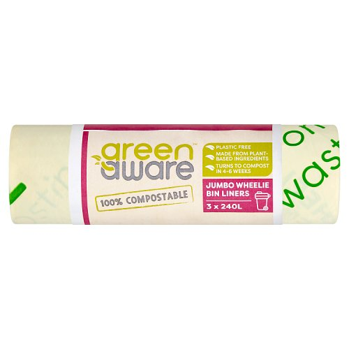 GreenAware 100% Compostable Jumbo Wheelie Bin Liners 3 x 240L
