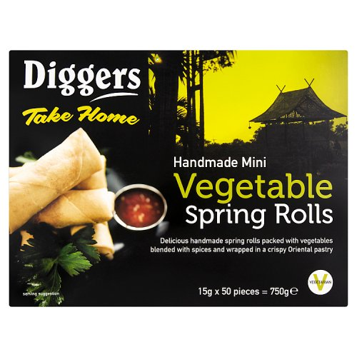 Diggers Take Home Handmade Mini Vegetable Spring Rolls 50 x 15g (750g)