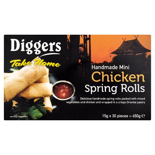 Diggers Take Home Handmade Mini Chicken Spring Rolls 30 x 15g (450g)