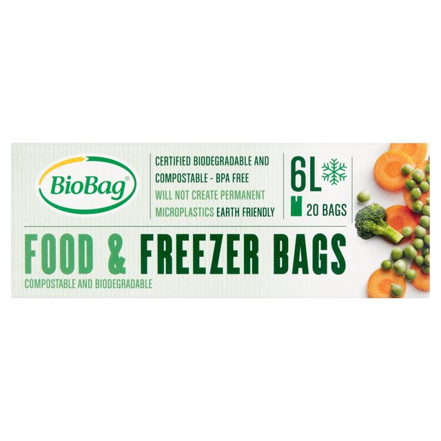 BioBag 20 Compostable and Biodegradable Food & Freezer Bags 6L