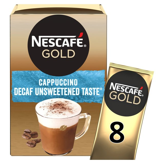 NESCAFÉ GOLD Cappuccino Decaf Unsweetened Taste Coffee, 8 Sachets x 15g