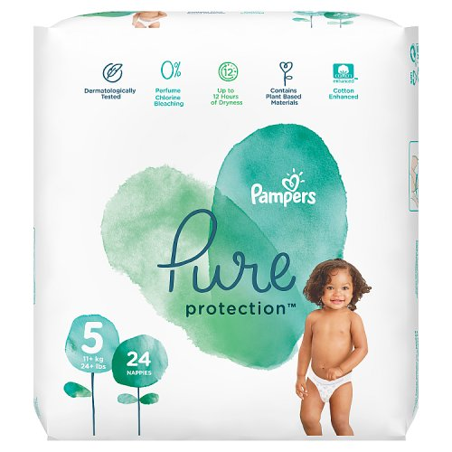 Pampers Pure Protection Size 5, 24 Nappies, 11kg+, Essential Pack