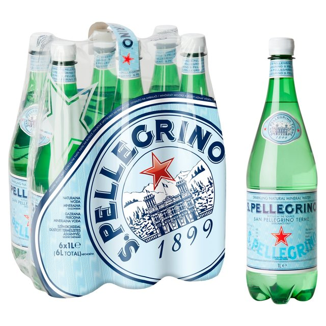 S.Pellegrino Carbonated Natural Mineral Water 6 x 1L