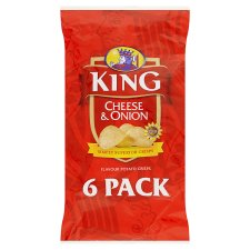 King Cheese & Onion Flavour Potato Crisps 6 x 25g