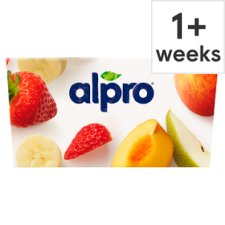Alpro No Bits Strawberry Peach Yoghurt Alternative 4 X125g
