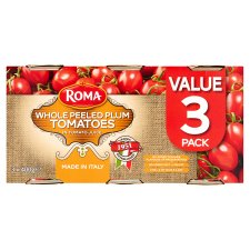 Roma Whole Peeled Plum Tomatoes in Tomato Juice 3 x 400g